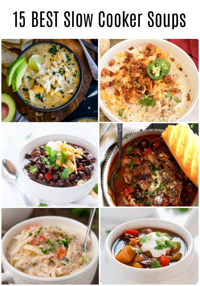 a collage with images of six different soups
