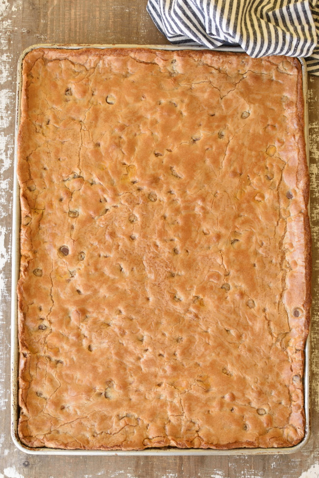 a sheet pan with baked chcoolate chip and butterscotch cookies