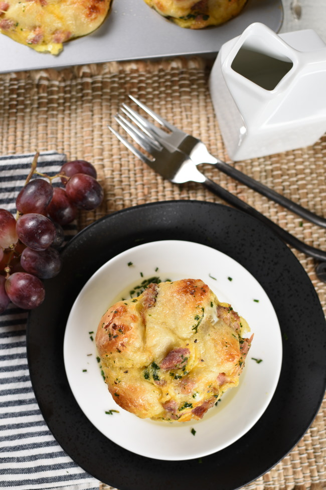 savory monkey bread served with red grapes