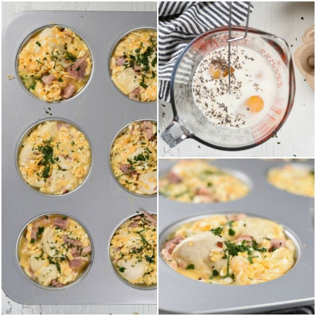 Collage with step by step photos of adding scrambled eggs to monkey bread