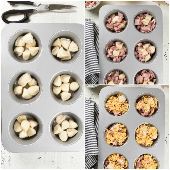 collage of steps for making ham, egg, and cheese monkey bread in a muffin tin