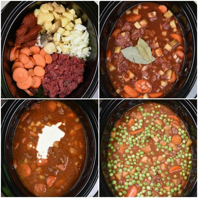 collage of images for making slow cooker beef stew