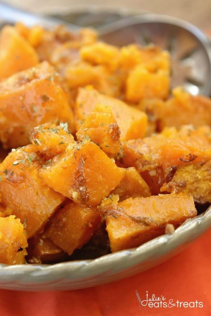 serving dish with diced and cooked sweet potatoes