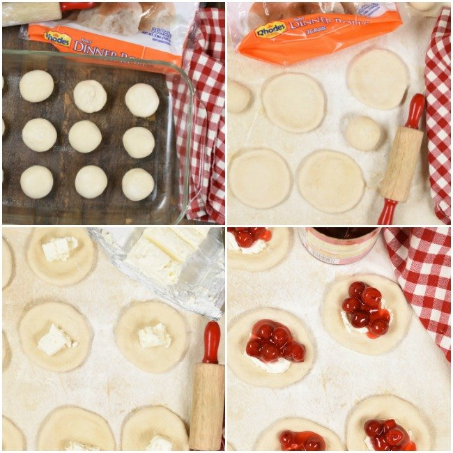 A step by step photo collage with images of how to make cherry cheesecake monkey bread