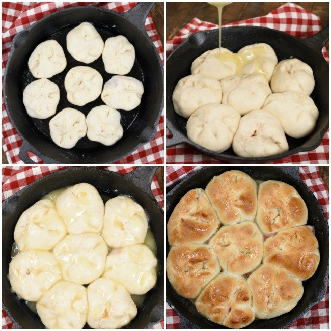 A step by step collage of cherry cheesecake monkey bread