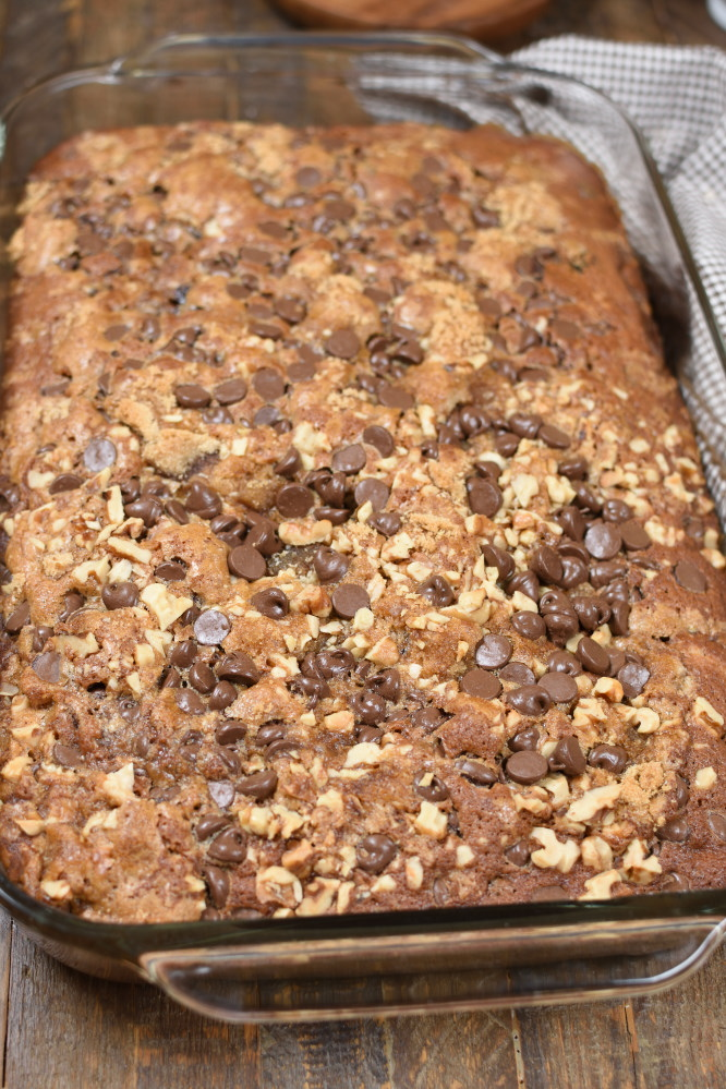 a baked spice cake in a 9 x 13 pan topped with walnuts and chocolate chips