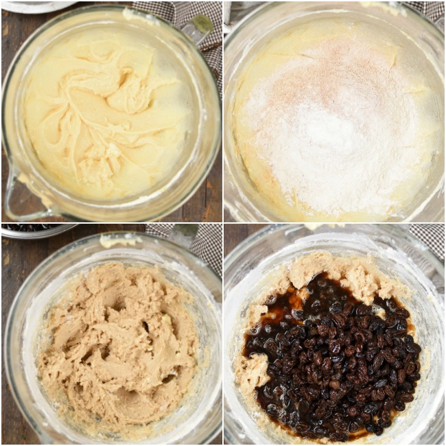 A step by step collage of making raising spice cake batter