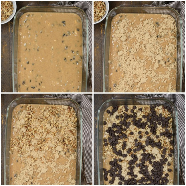 a step by step collage with images of a spice cake with chopped walnuts, chocolate chips, and brown sugar
