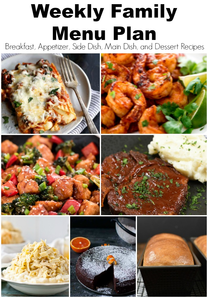 a pinterest collage with family menu plan ideas