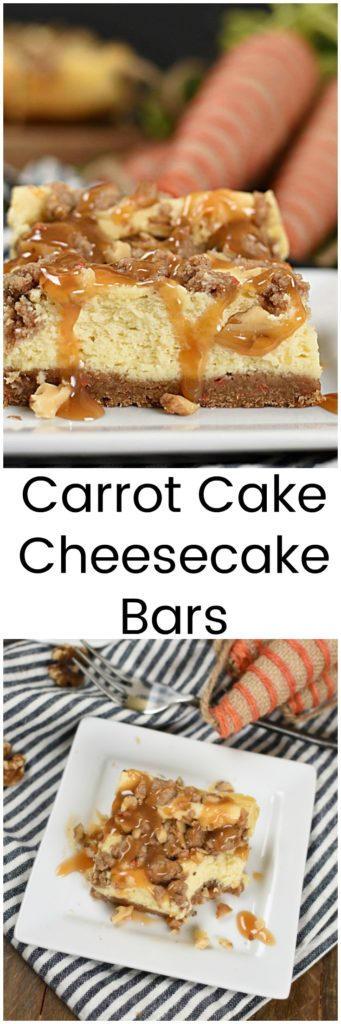a collage of two images of  cheesecake bars