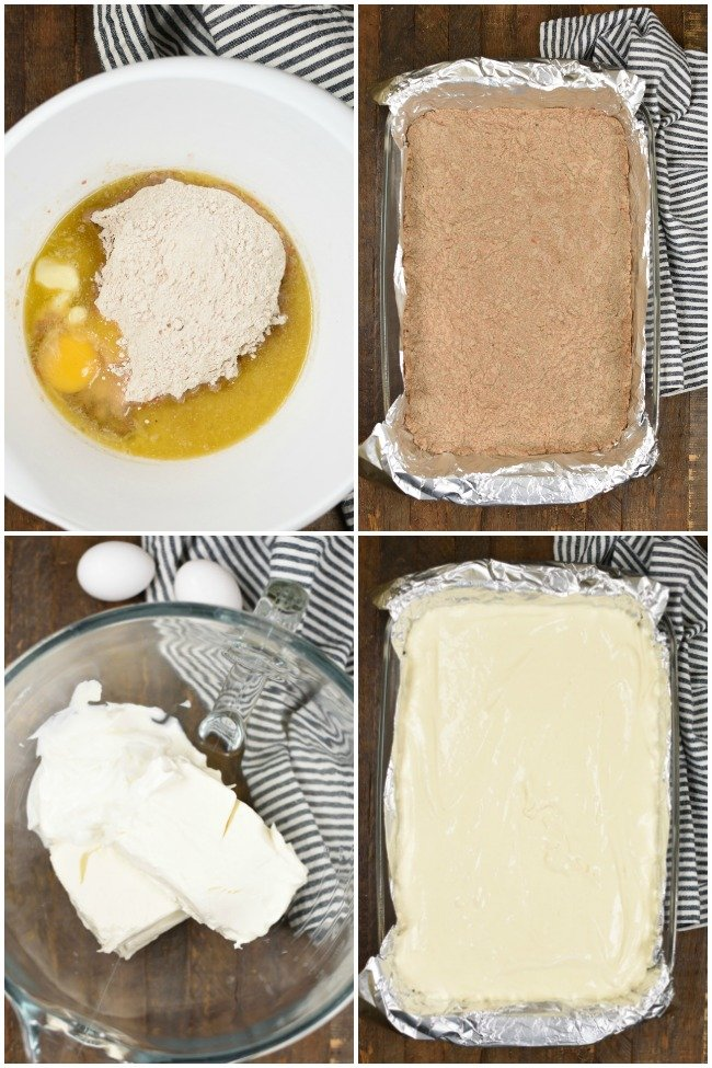 a collage with images of instructions for making cheesecake bars