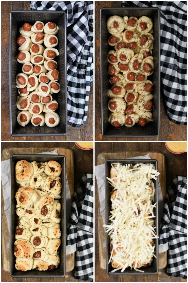 a collage with steps for making pull apart bread