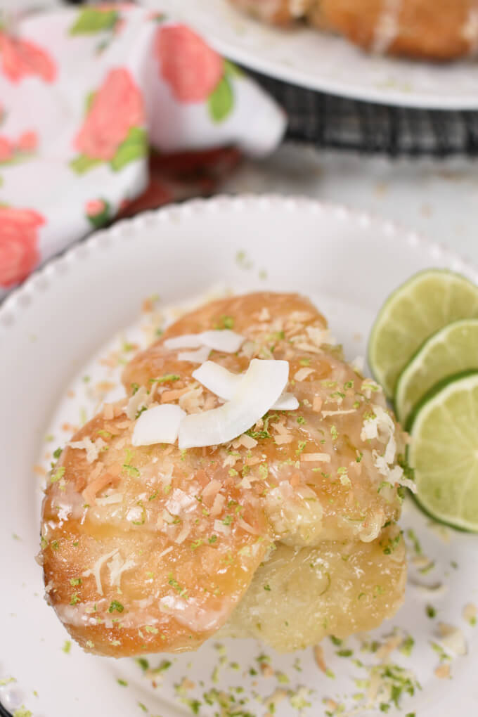 top view of an image of coconut and lime zest sprinkled golden brown baked monkey bread