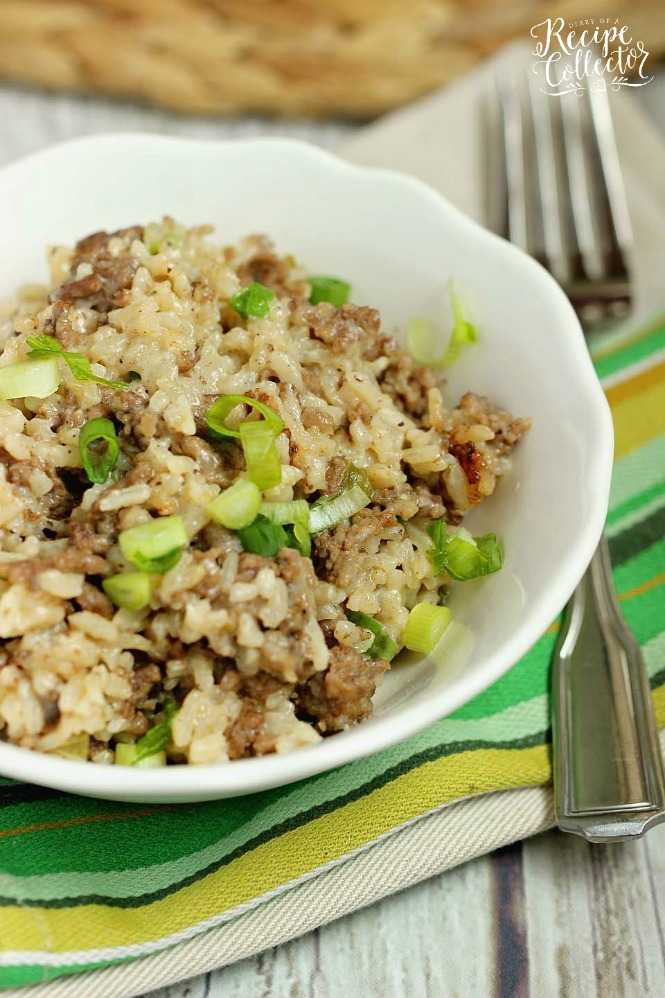 Rice with green onions, green peppers, sausage, and hamburger mixed in.