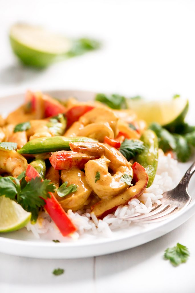 shrimp, red and green peppers in a curry sauce over white rice