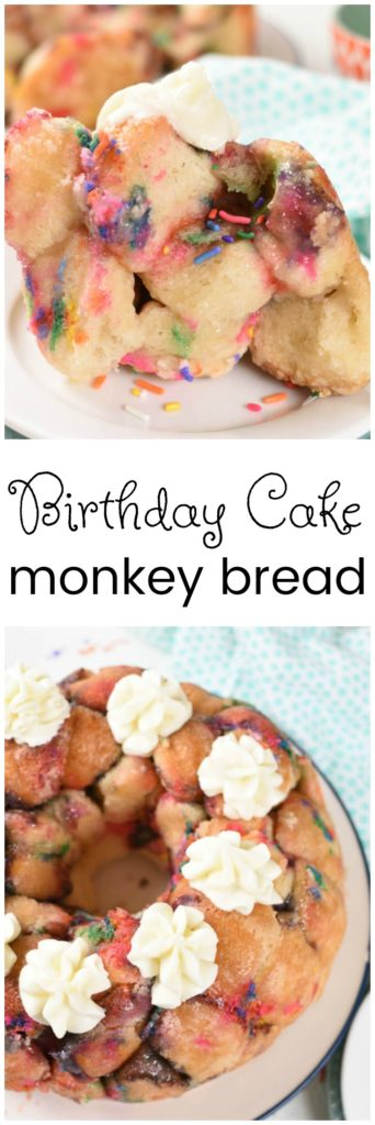 a collage with images of birthday cake monkey bread