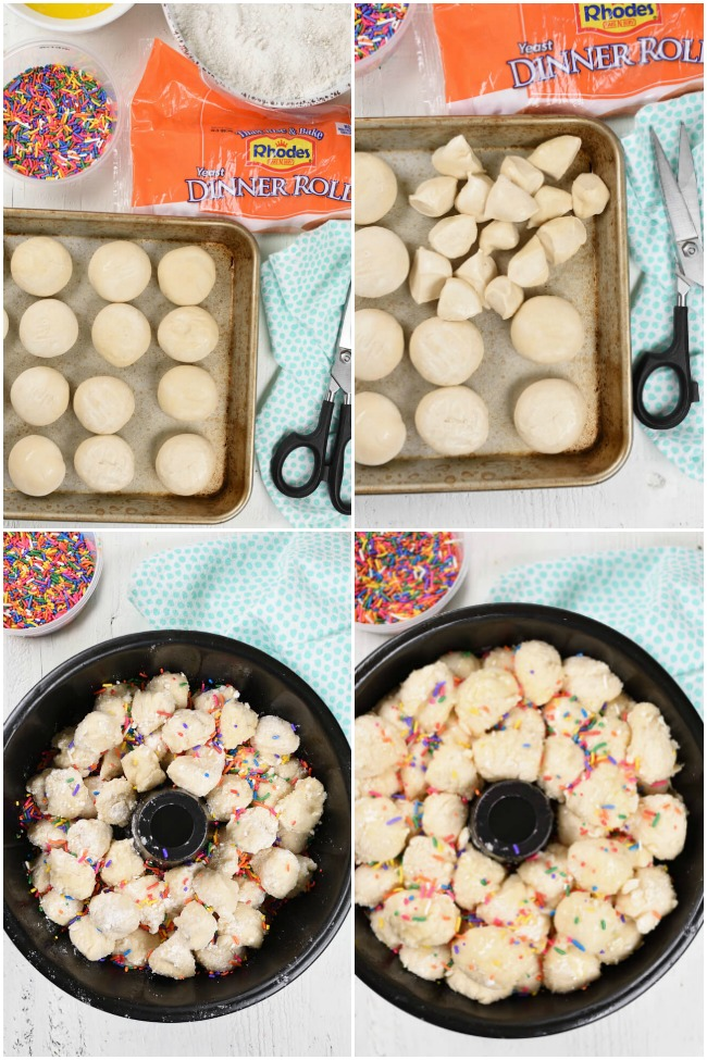 a collage of step by step images for making monkey bread