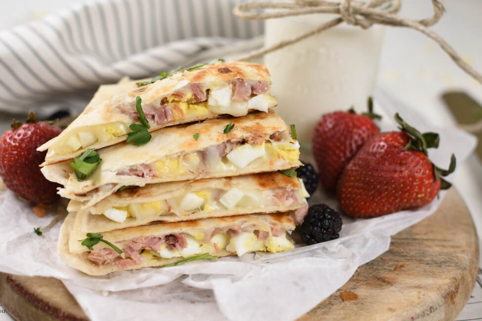 quesadillas with diced hard boiled eggs and ham and mozzarella cheese