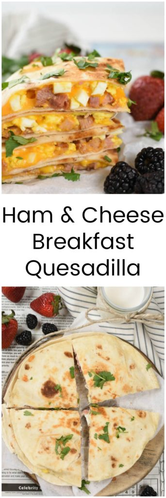 a collage with two images of breakfast quesadillas