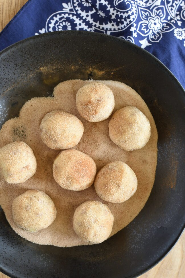 raw cookie dough balls rolled in cinnamon and sugar mixture