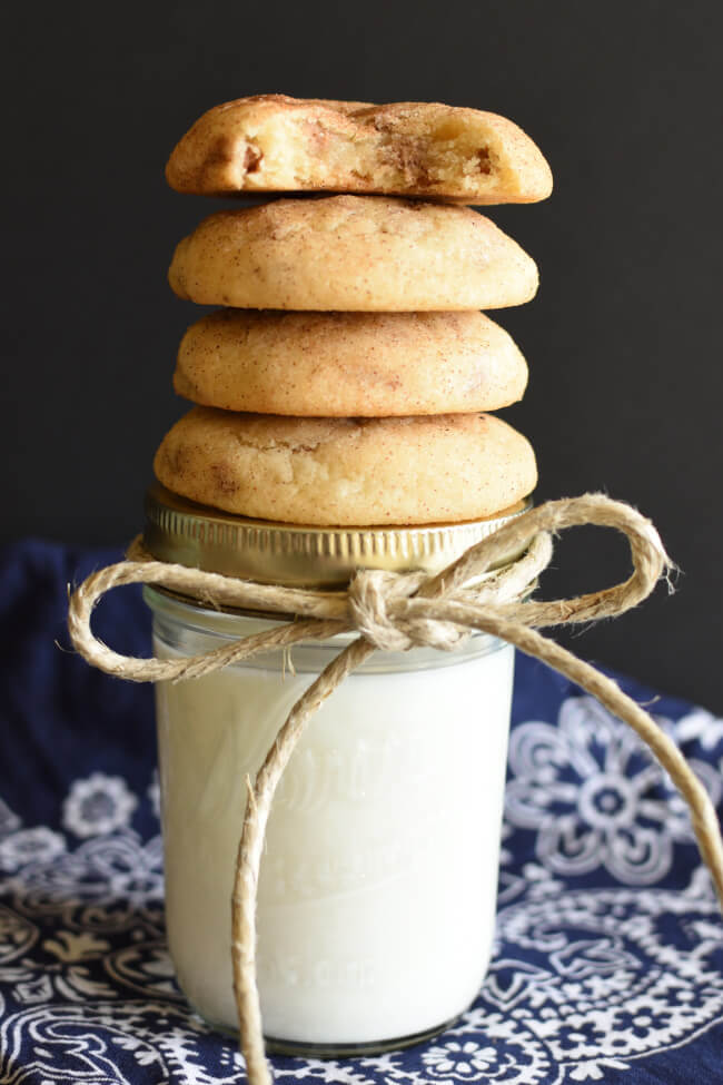cookies stacked on a glass jar tied with a twine