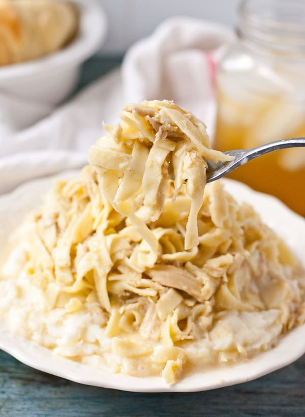egg noodles topped with shredded chicken in a creamy sauce on a white plate