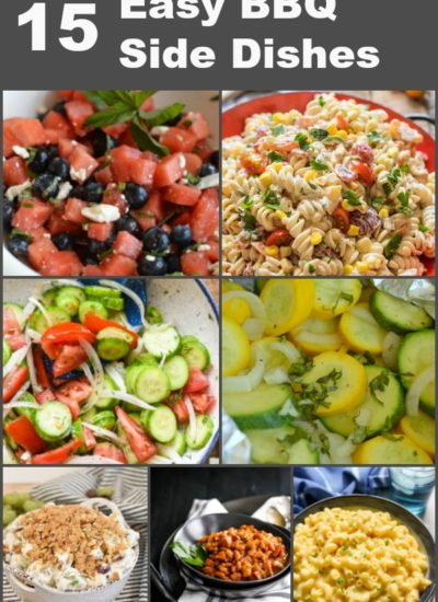 a collage with side dishes for a BBQ