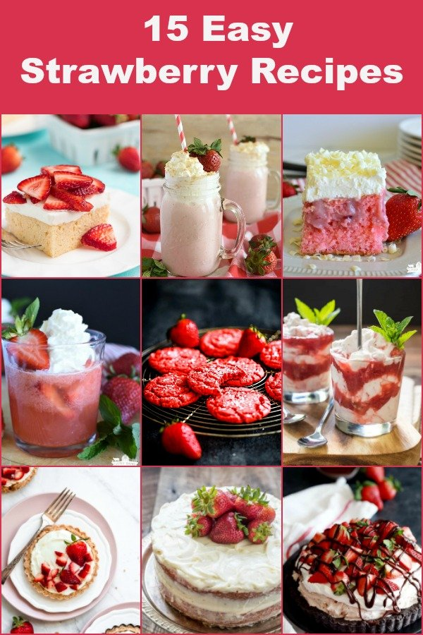 a collage of strawberry recipes