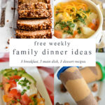 a collage with four images of food for meal planning plus a text overlay