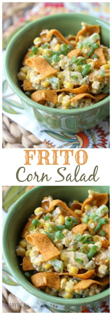 a collage with corn salad topped with corn chips