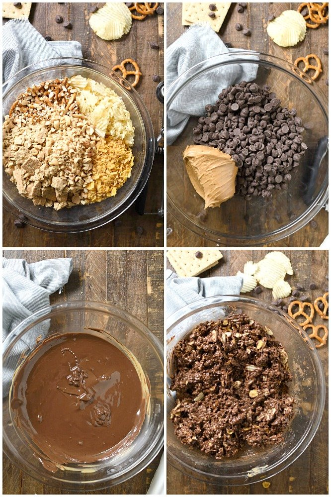 a collage of ingredients for making no bake cookies
