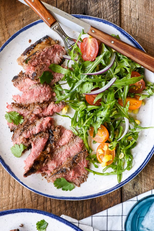 Cilantro Lime Marinated Skirt Steak with Simple Summer Salad