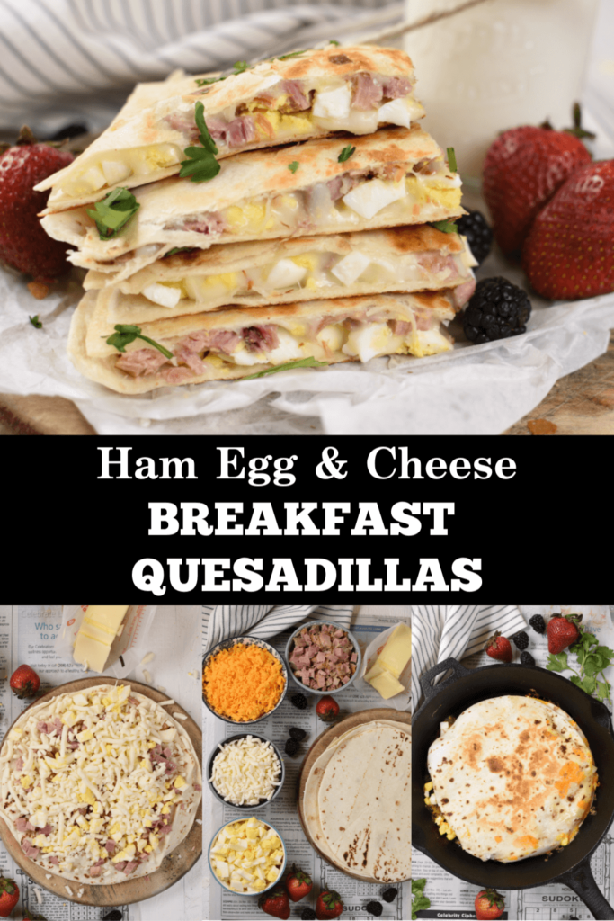 a pinterest collage with images of breakfast quesadillas