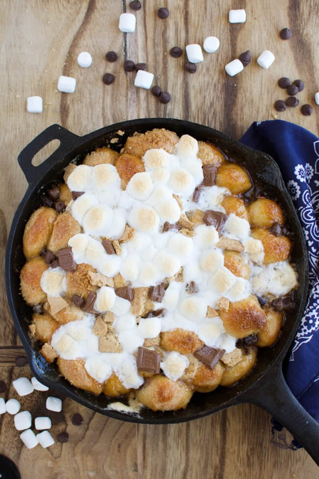 golden brown baked monkey bread topped with melted marshmallows