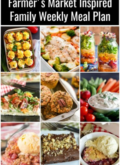 a collage with images of farmers market inspired recipes