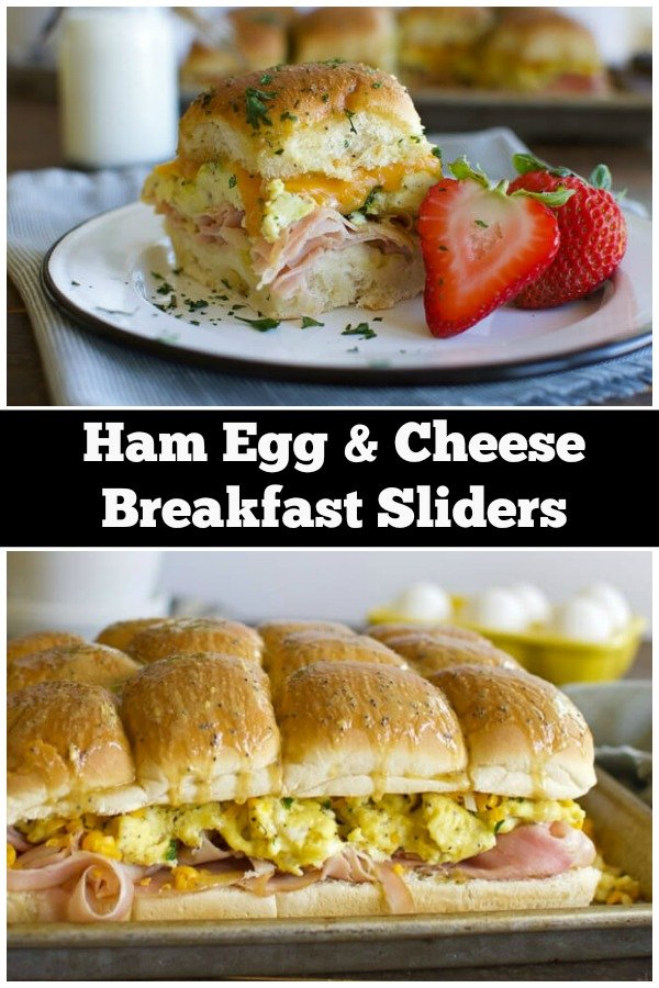 A collage of breakfast slider images