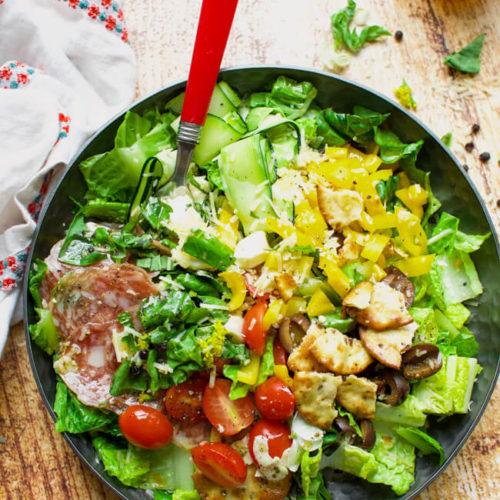Easy Pizza Salad Recipe W Italian Vinaigrette Little Dairy On The Prairie