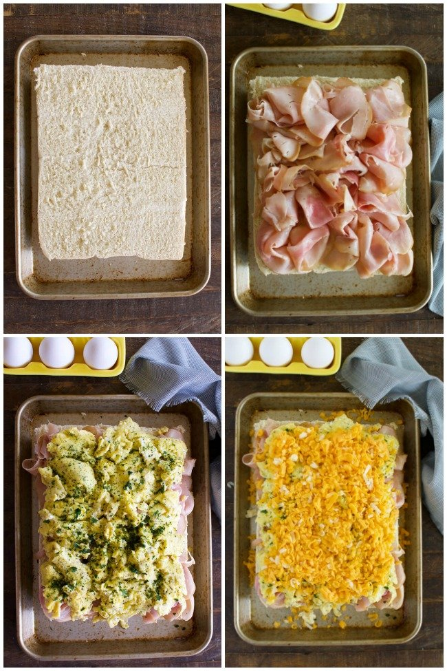 a collage with 4 images showing how to make breakfast sliders