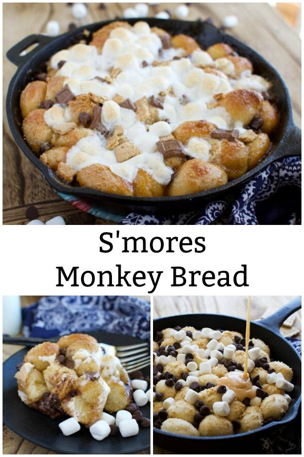 a collage of s'mores monkey bread images