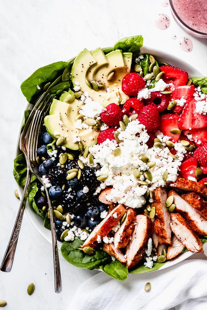 Berry Chicken Spinach Salad