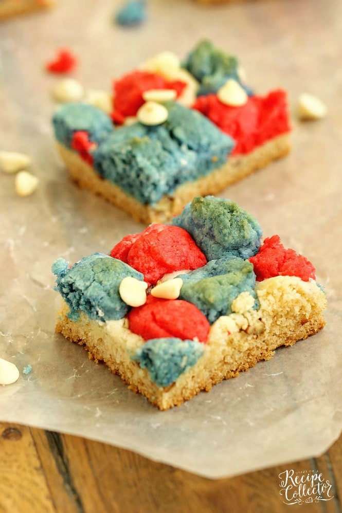 Red, White, and Blue Cookie Bars - Diary of A Recipe Collector