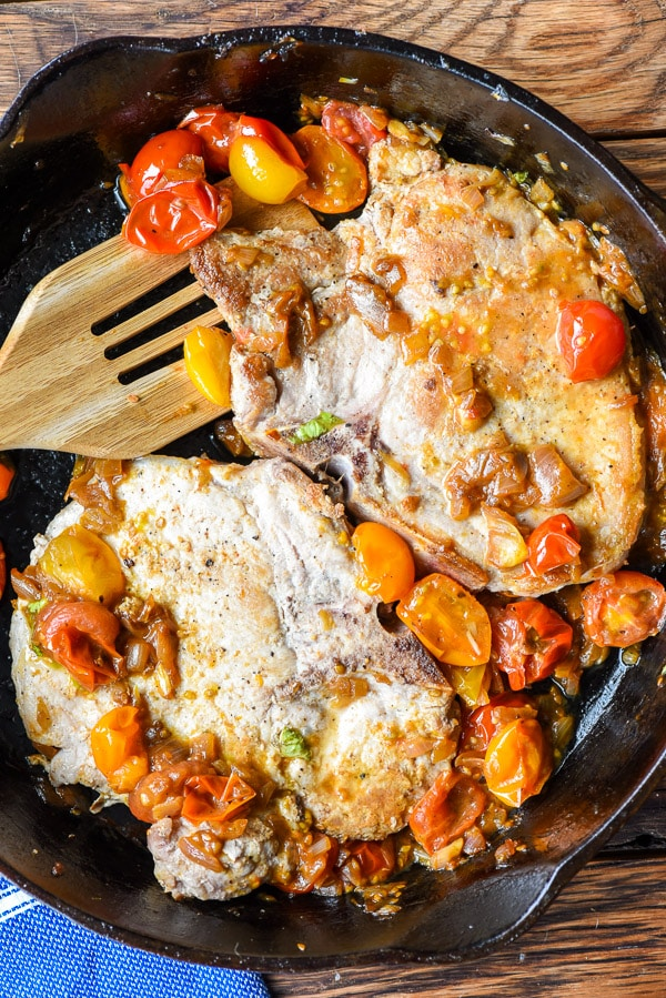 Skillet Pork Chops with Tomato Shallot Sauce