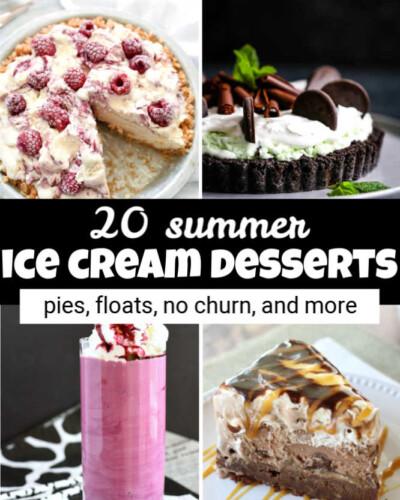 three images of ice cream pie and one image of a purple milkshake, plus text