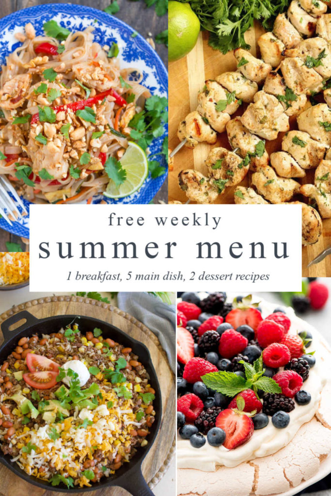 four images- berry dessert, chicken skewers, mexican skillet, and thai chicken