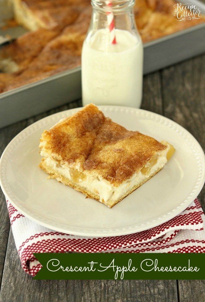 a plate with a square of apple cheesecake with a top and bottom crust