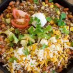 Easy Beef Burrito Skillet – can be used to make nachos, salad, burrito bowls, and more