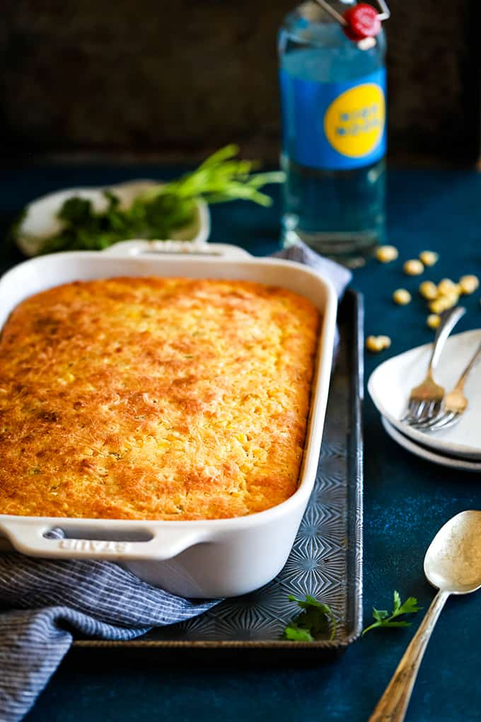 a baking dish with baked cornbread