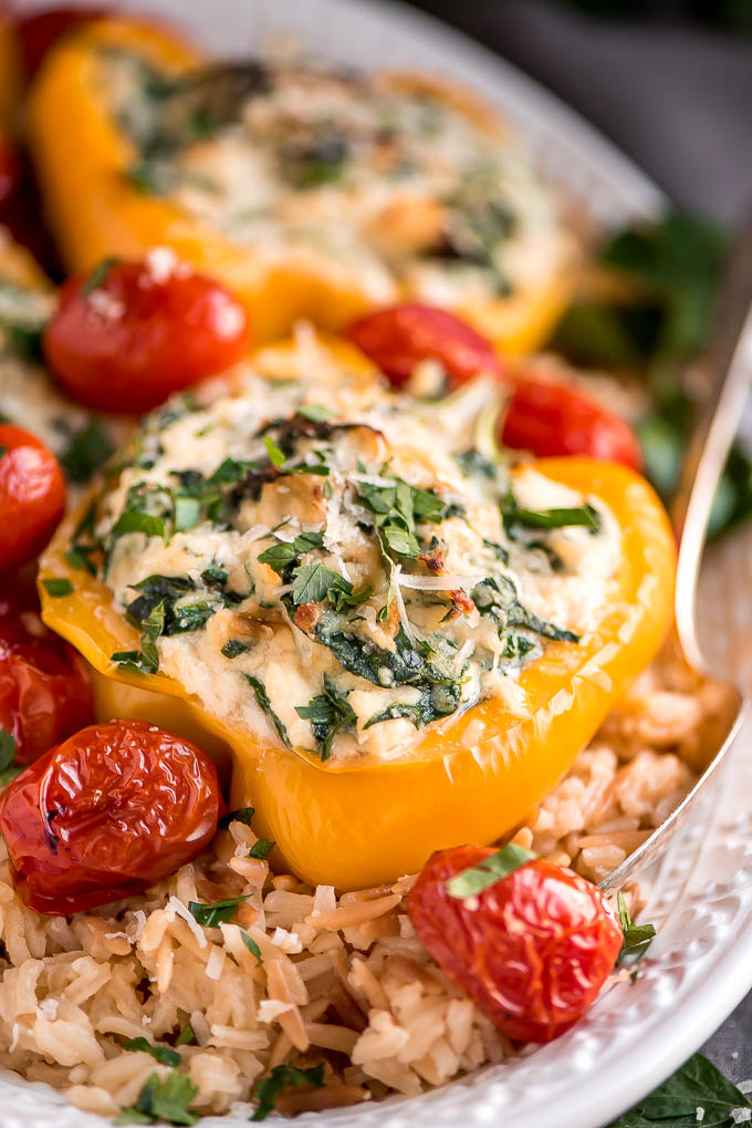 Vegetarian Spinach Ricotta Stuffed Peppers