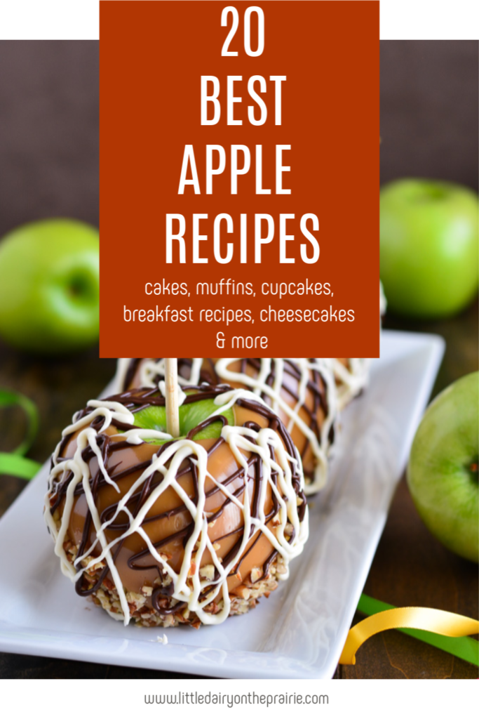 an image of white and semi sweet chocolate drizzled apples with chopped walnuts and a graphic image overlay