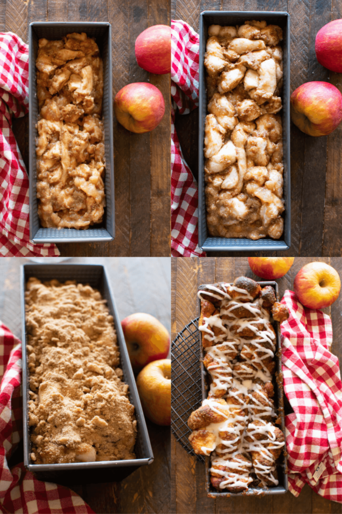 a collage of images for making apple pie pull apart bread